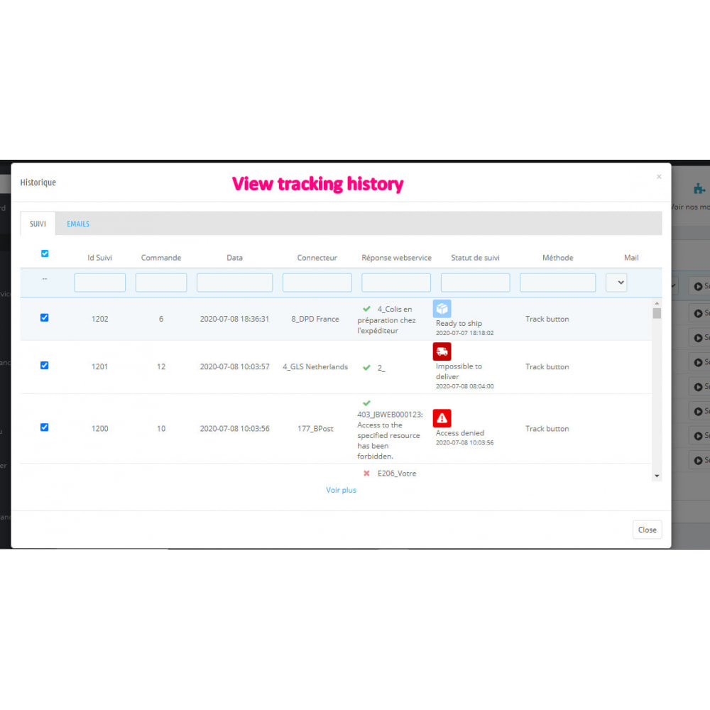 module - Delivery Tracking - Tracking Center - 60 carriers - 11