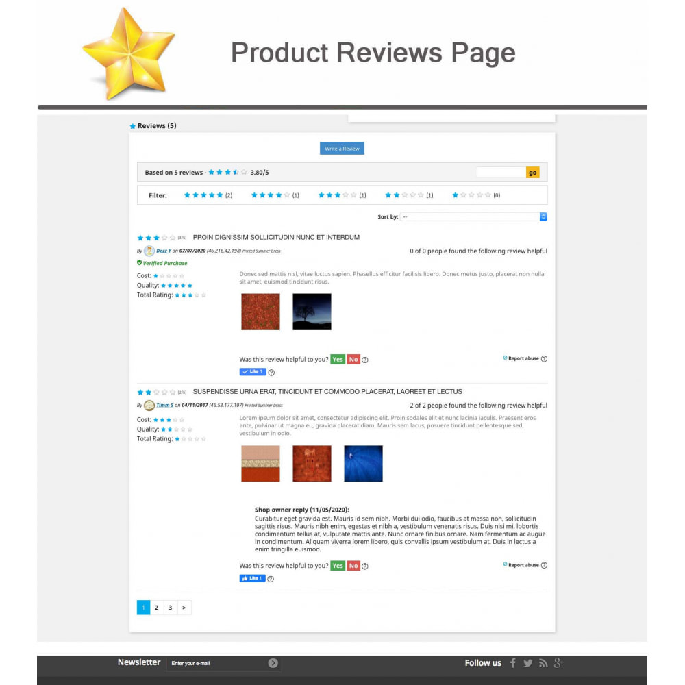 module - Widgets réseaux sociaux - Produit Avis + Programmes fidélité + Profil utilisateur - 6