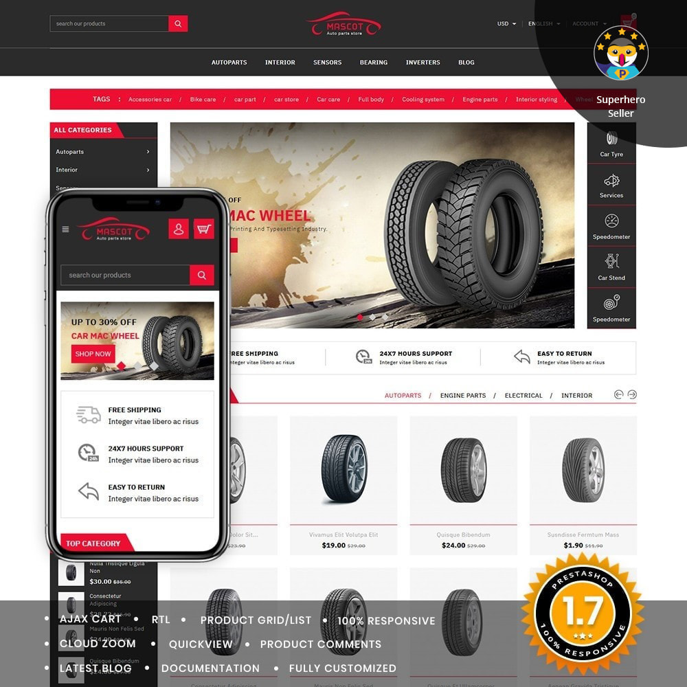 theme - Auto's & Motoren - Mascot Automotive & Cars Parts - 1