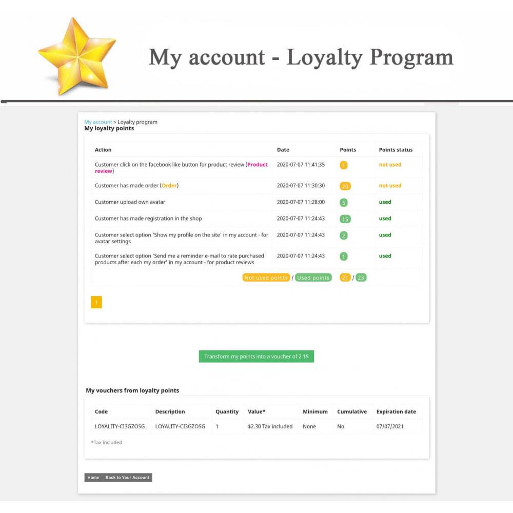 module - Widgets réseaux sociaux - Produit Avis + Programmes fidélité + Profil utilisateur - 17