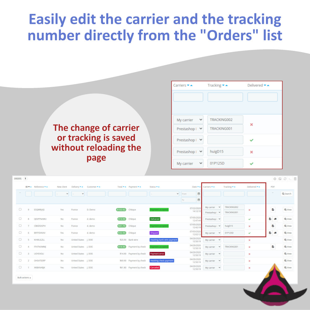 module - Shipping Carriers - Edit the delivery directly from the orders list - 2