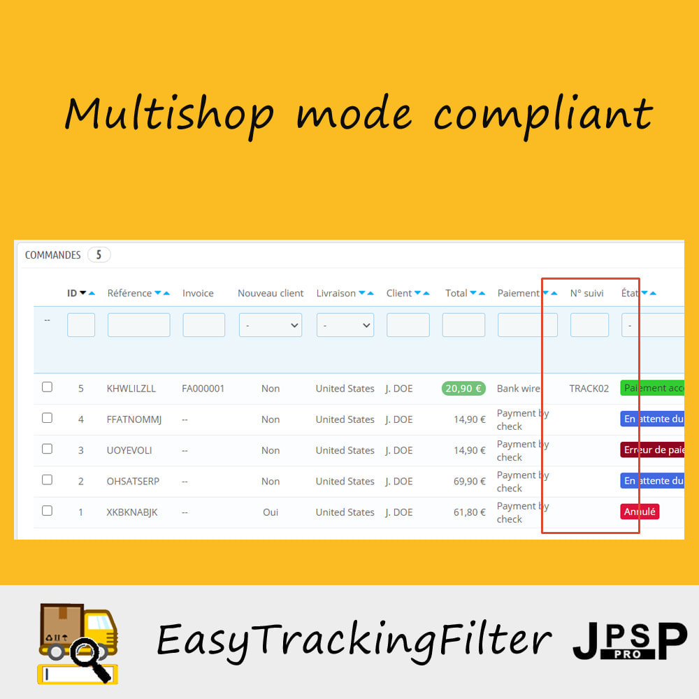 module - Sendungsverfolgung - Search by tracking number - Easy Tracking Filter - 2