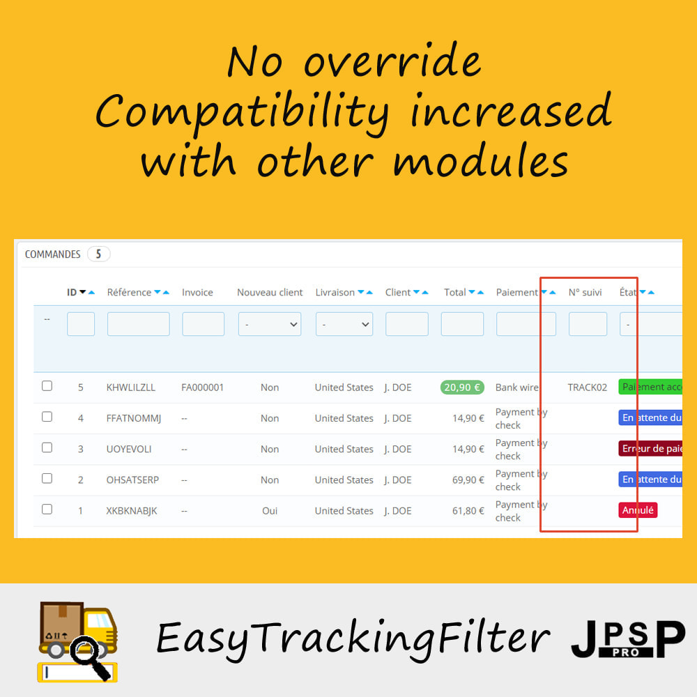 module - Śledzenie dostawy - Search by tracking number - Easy Tracking Filter - 3