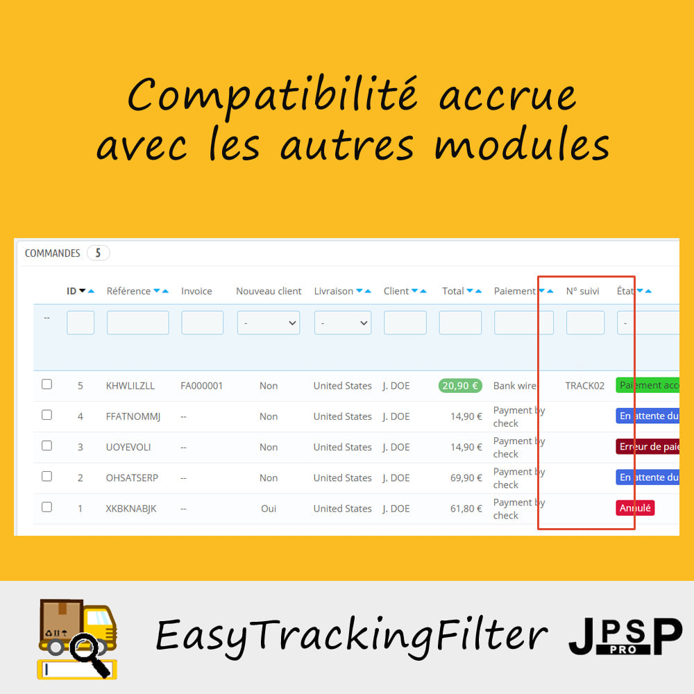 module - Suivi de livraison - Rechercher par numéro de suivi - Easy Tracking Filter - 3