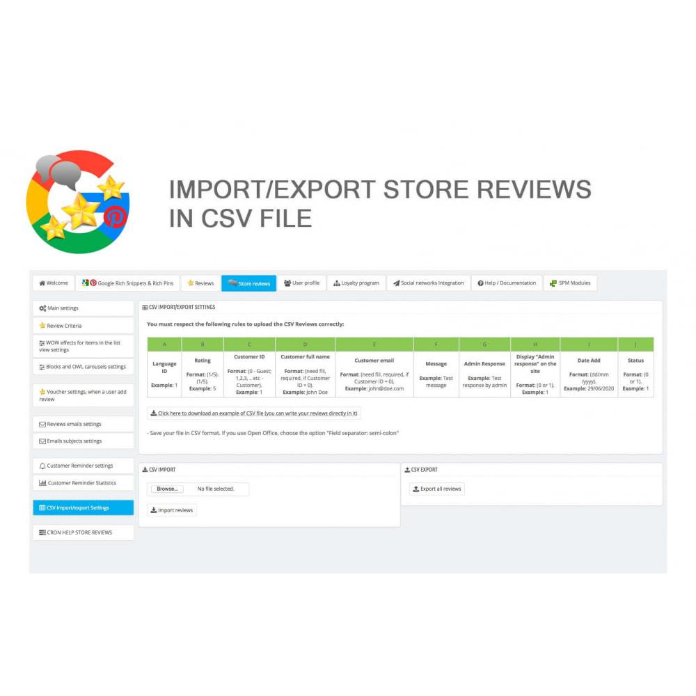 module - Avis clients - Produit+Boutique Avis, Points fidélité, Google Snippets - 49