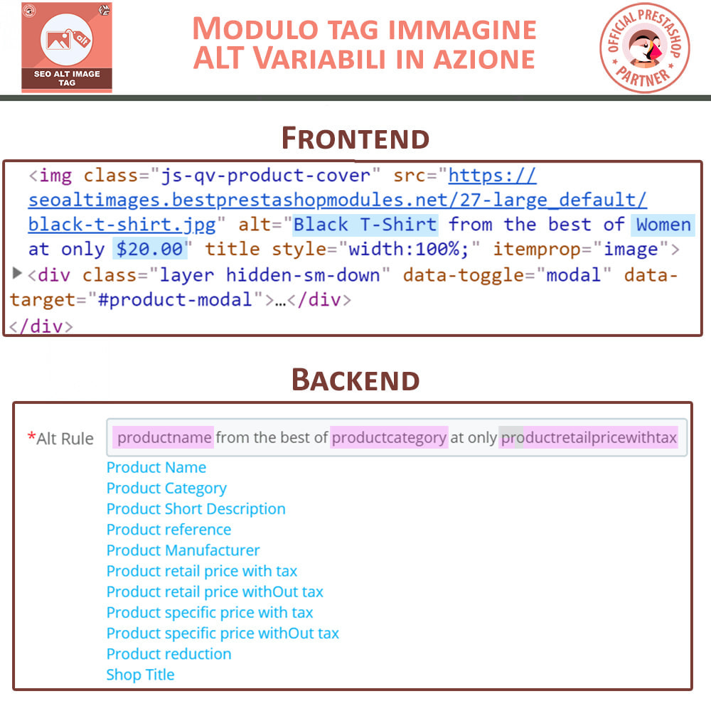 module - SEO (Indicizzazione naturale) - SEO Alt Image Tags - Alt Immagini Tag (Automatico) - 3