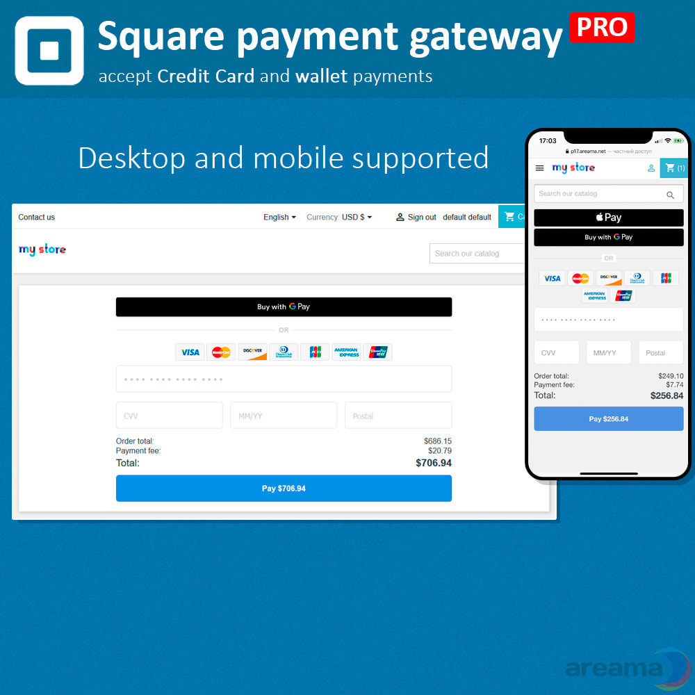 module - Zahlung per Kreditkarte oder Wallet - Square Payment Gateway PRO - Card and Wallet payments - 2