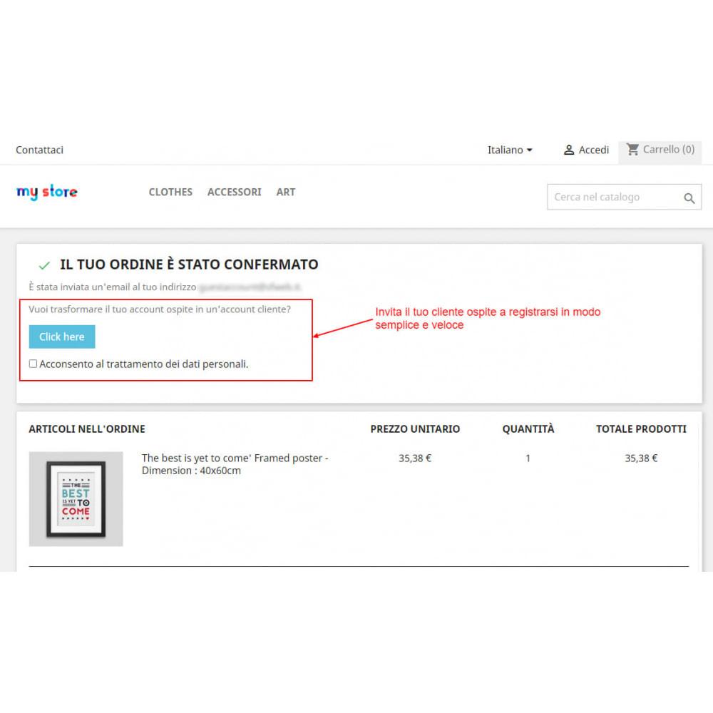 module - Gestione clienti - Trasforma l'account ospite in account cliente - 3
