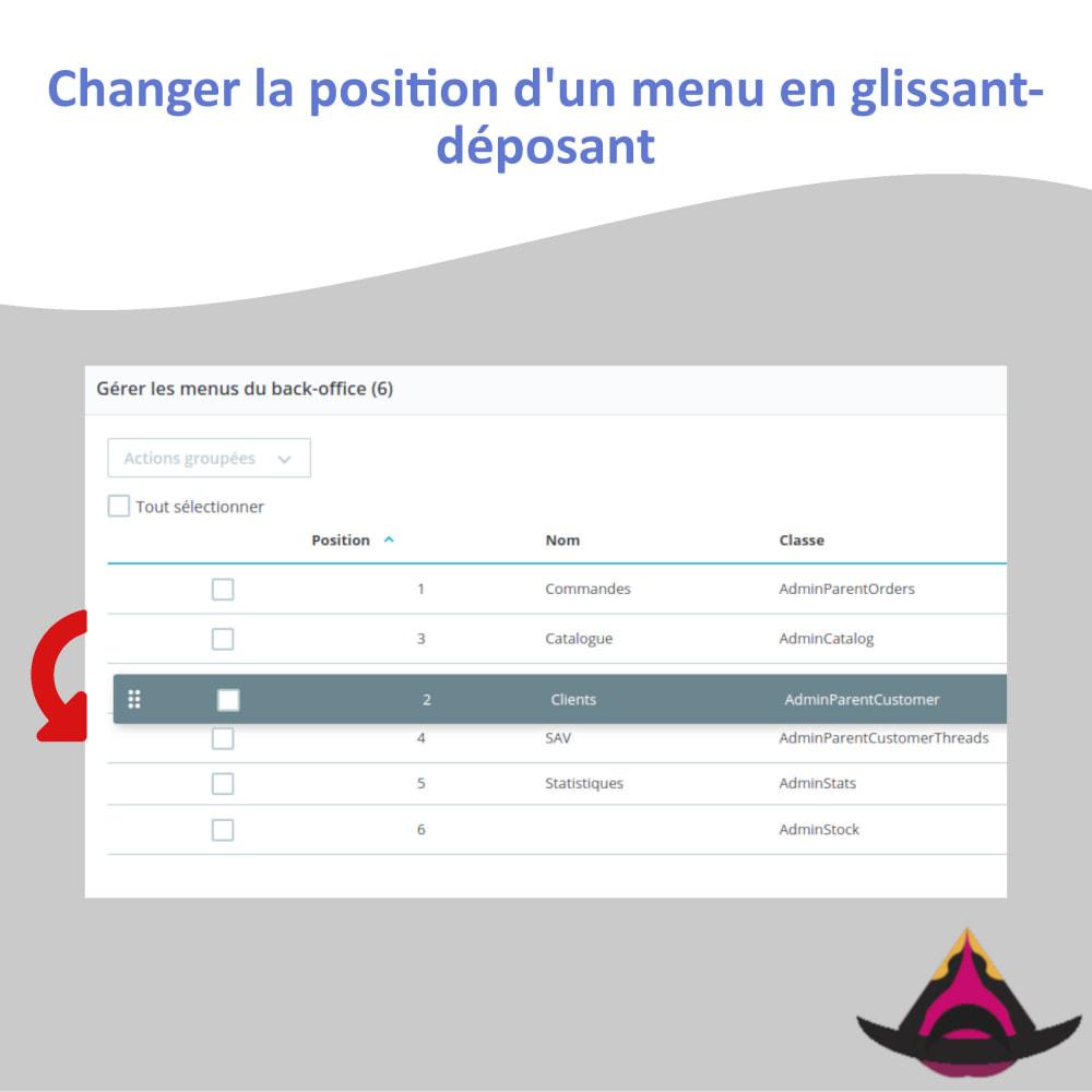 module - Menu - Gérer la disposition des menus du back-office - 2