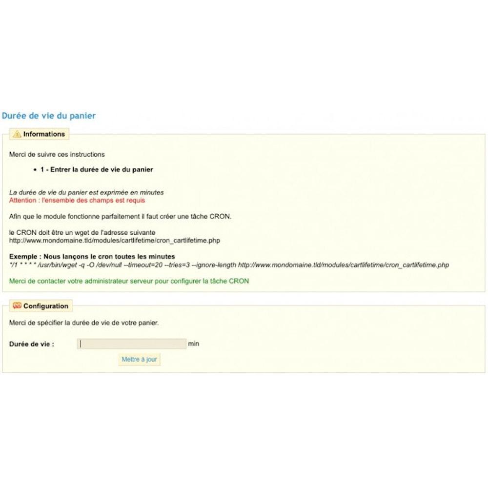 module - Inscription & Processus de commande - Durée de vie du panier - 2