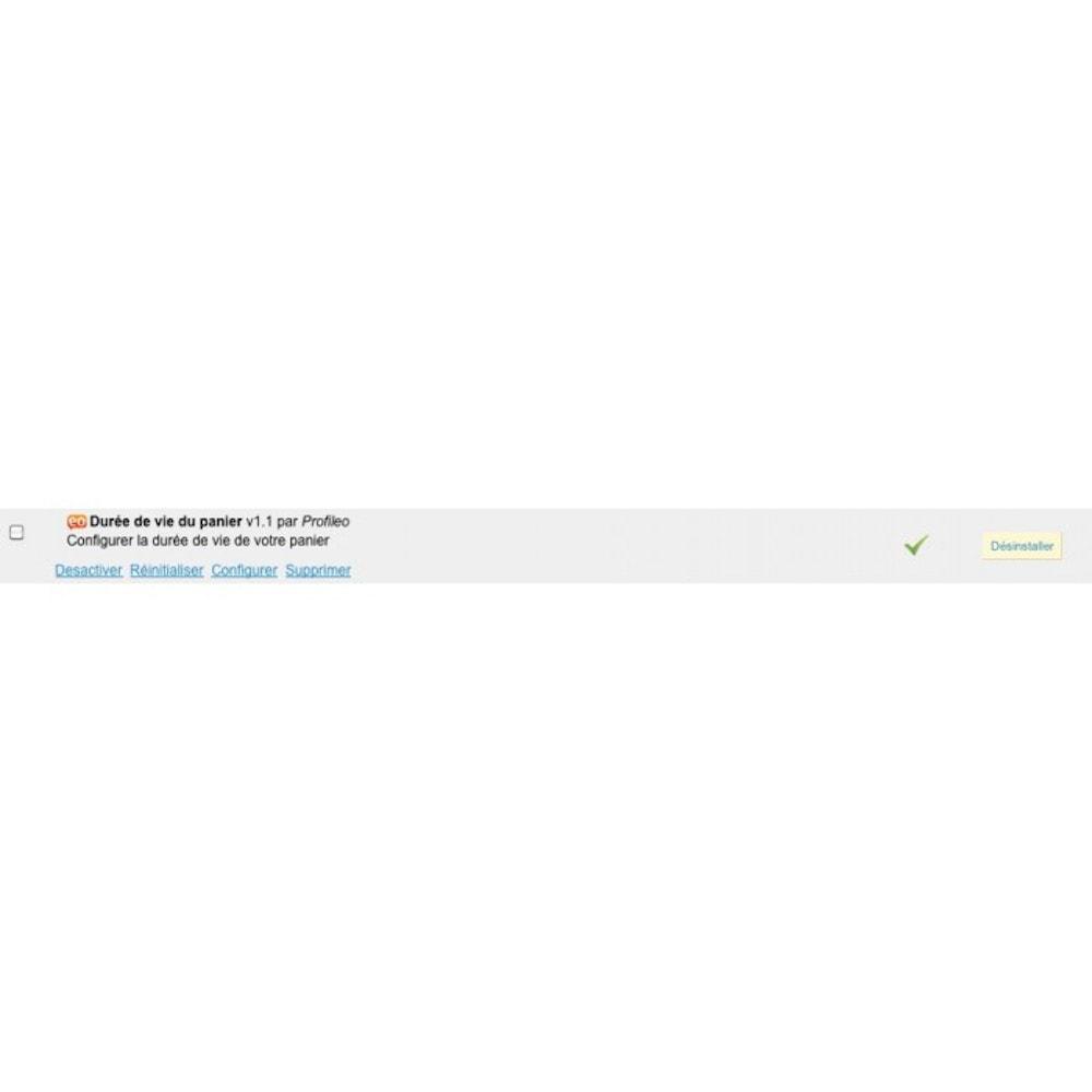 module - Inscription & Processus de commande - Durée de vie du panier - 3