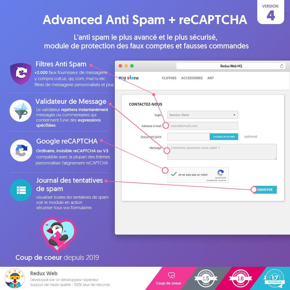 module - Sécurité & Accès - Antispam et Faux Comptes Google Re-Captcha Avancé - 1