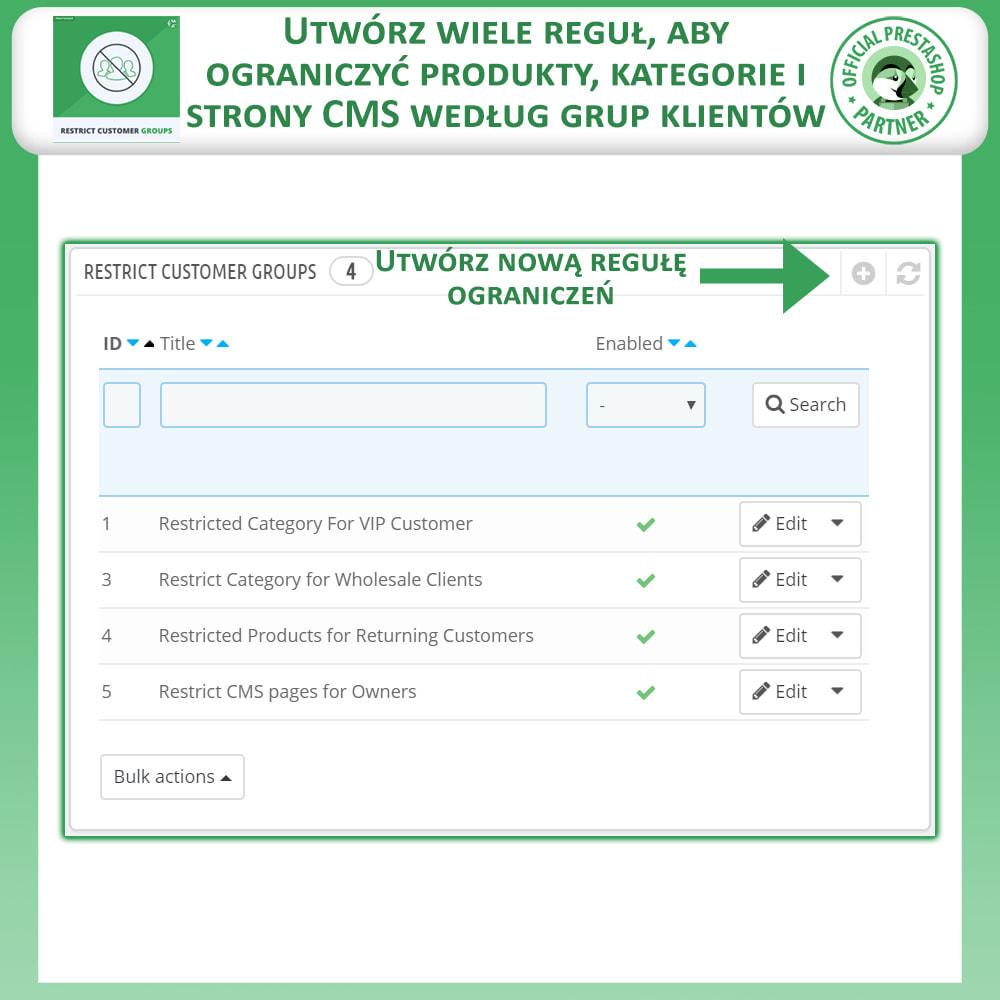 module - Dodatkowe informacje & Zakładka produktu - Ogranicz Produkty, Kategorie i CMS Według Grup Klientów - 2