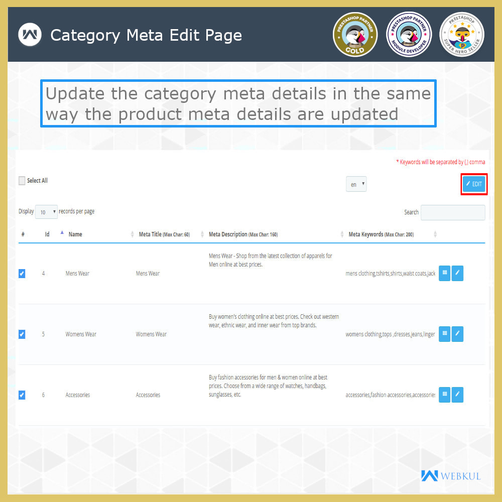 module - Fast & Mass Update - Custom Product & Category Meta Details - 9