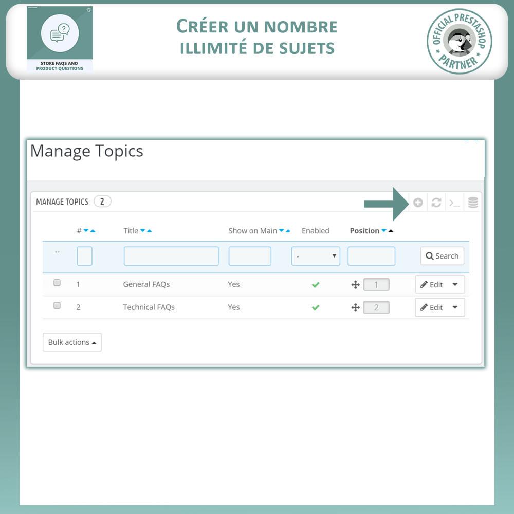 module - FAQ (questions fréquentes) - Questions fréquentes + Questions sur les produits - 10
