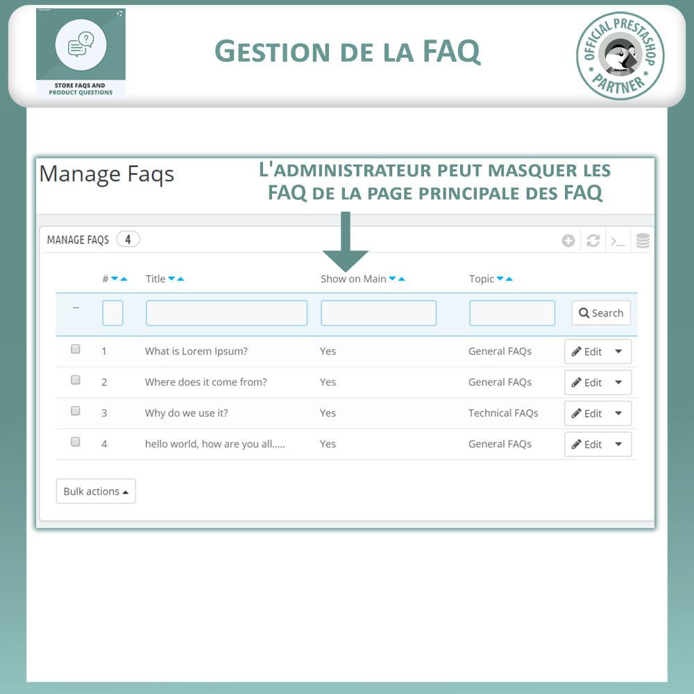 module - FAQ (questions fréquentes) - Questions fréquentes + Questions sur les produits - 11