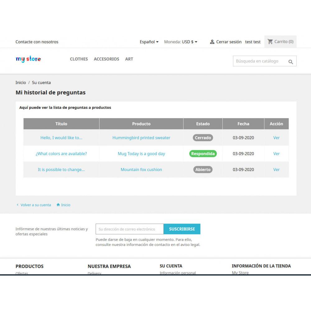 module - Informaciones adicionales y Pestañas - Pregunta en página de producto y gestión histórico - 6