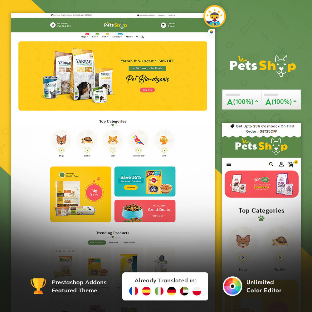 theme - Animaux - Pets Care & Animal Shop - 1