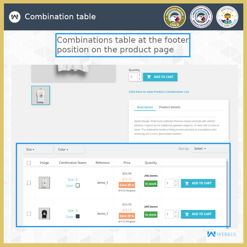 module - Versies & Personalisering van producten - Product Combinations Table View - 3