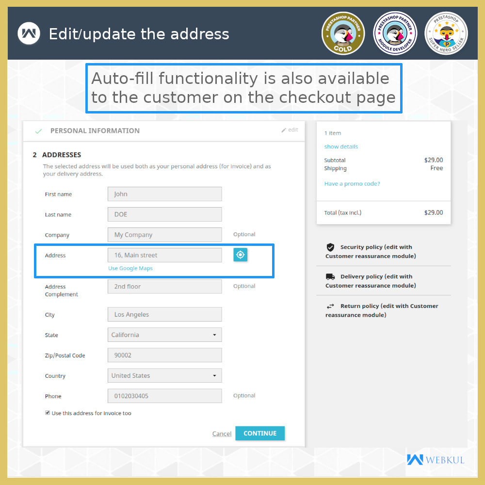 module - International & Localization - Auto-fill Address Form | Google Addresses - 9