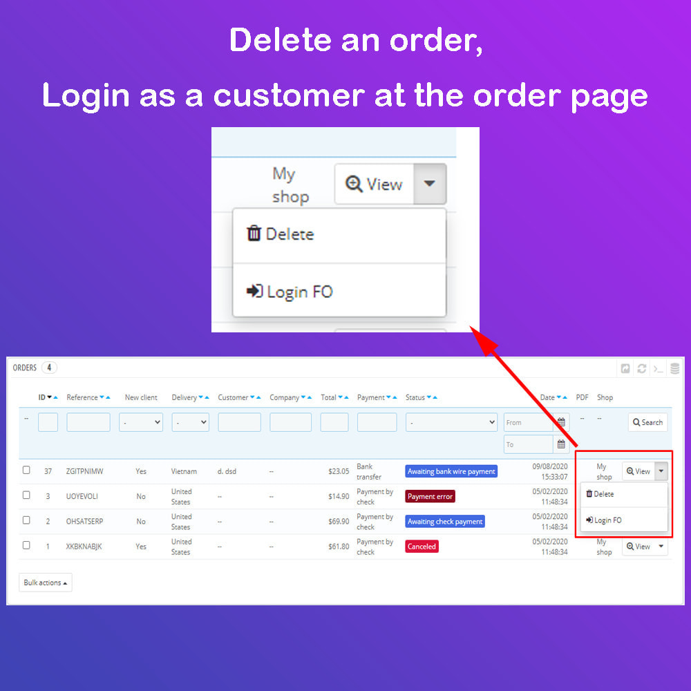module - Przyciski do logowania  & Connect - 1 Click - Delete Orders / Admin Login as Customer - 3