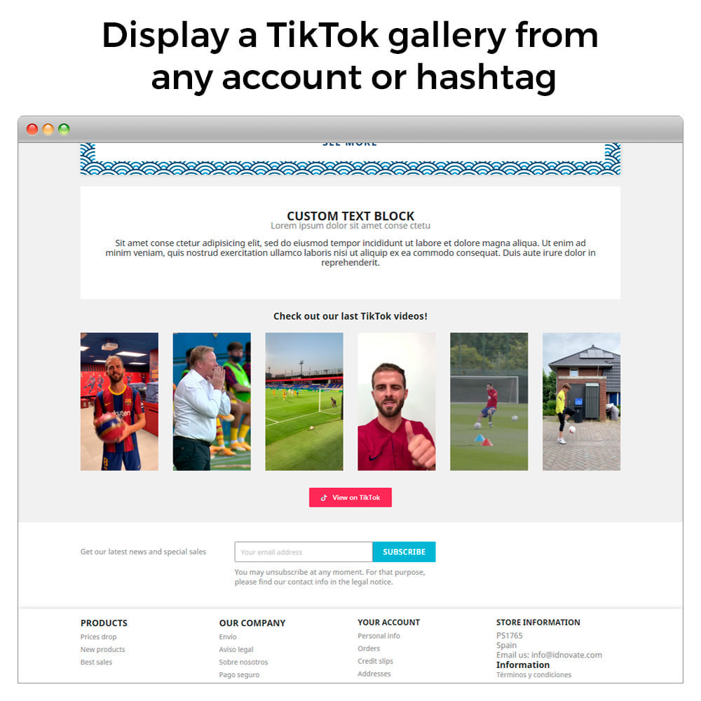 module - Social Widgets - TikTok Feed Slider - Insert Videos On Your Store - 2