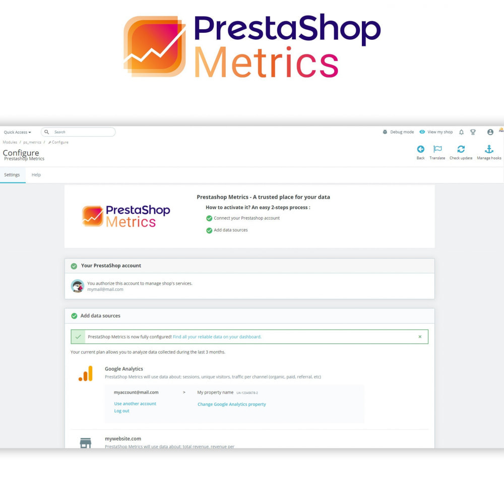 module - Analysen & Statistiken - PrestaShop Metrics - 2