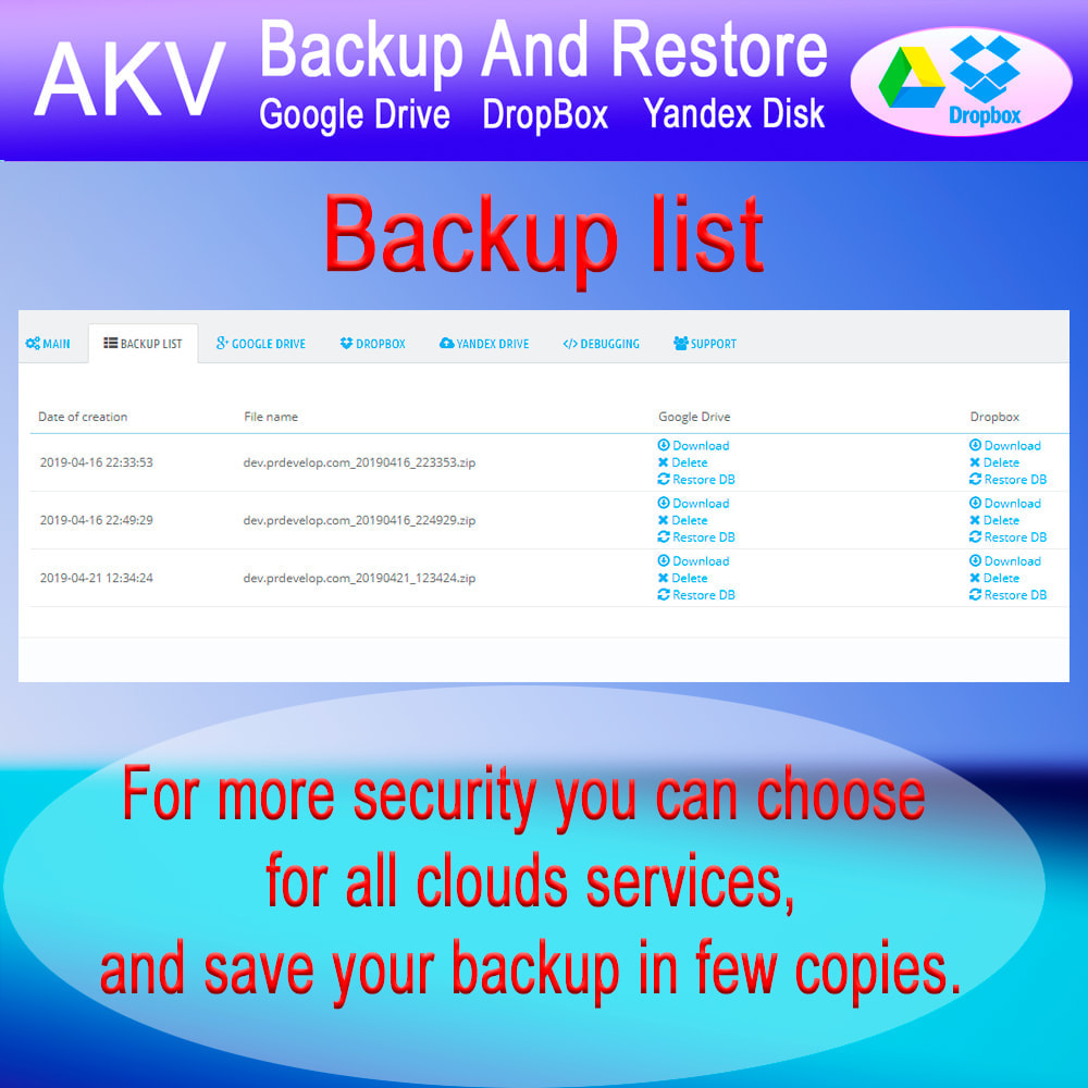 module - Data migration & Backup - AKV Backup and Restore (Google Drive, DropBox, Yandex) - 3