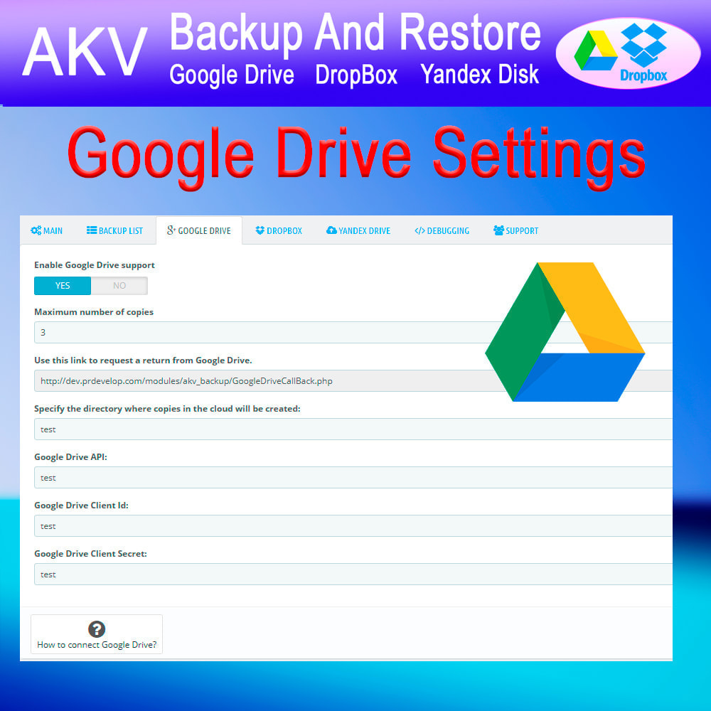 module - Data migration & Backup - AKV Backup and Restore (Google Drive, DropBox, Yandex) - 4