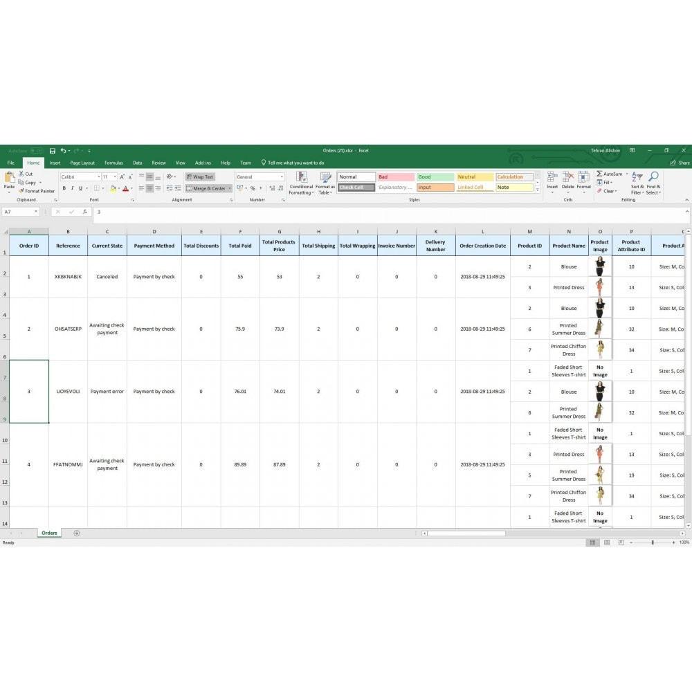 module - Import & Eksport danych (csv, pdf...) - Zamówienia Export Pro (Excel, CSV, PDF, Email, FTP) - 7