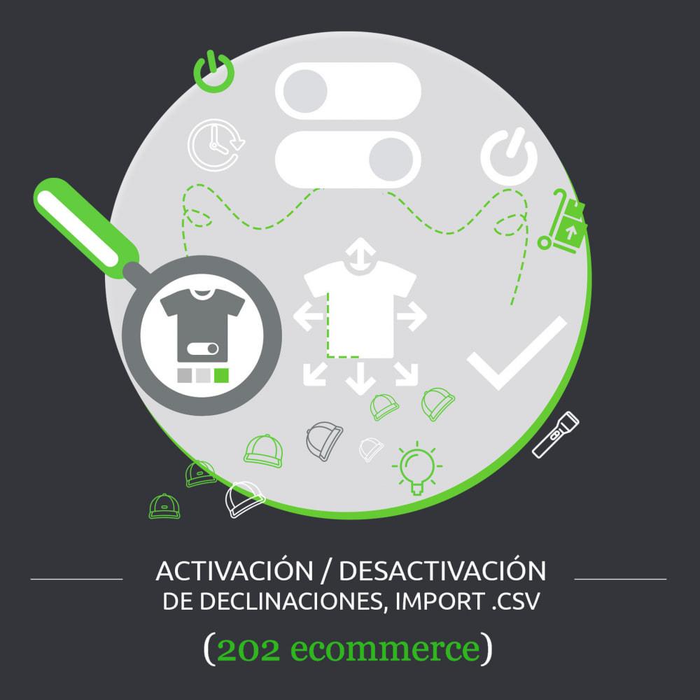 module - Combinaciones y Personalización de productos - Activación/desactivación de declinaciones, import .csv - 1