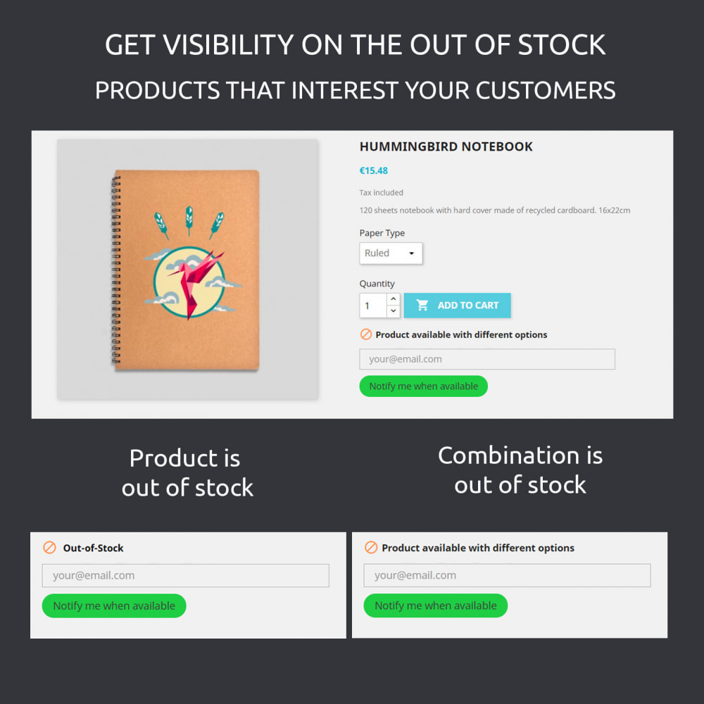 module - Stock & Leveranciersbeheer - Product Out of Stock : Emails and Number of Requests - 2