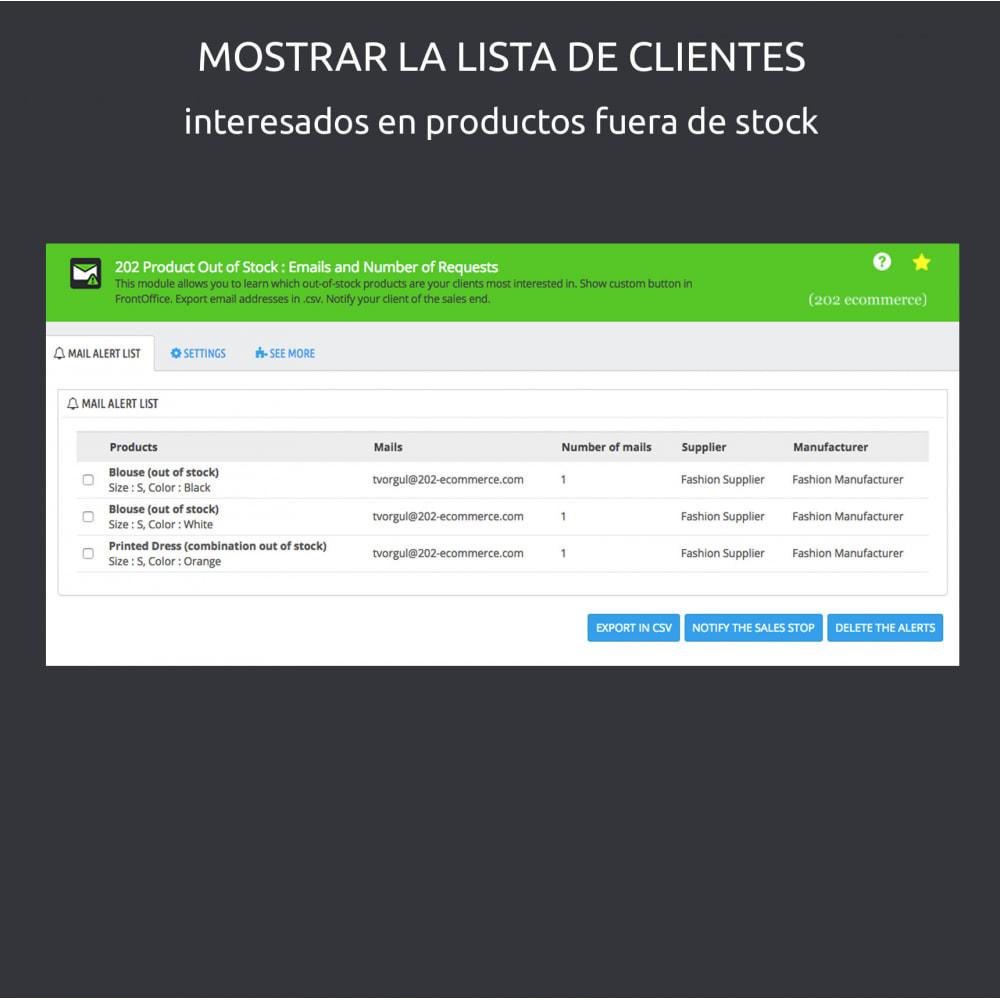 module - Gestión de Stock y de Proveedores - Productos Agotados : e-mail y número de aplicaciones - 5