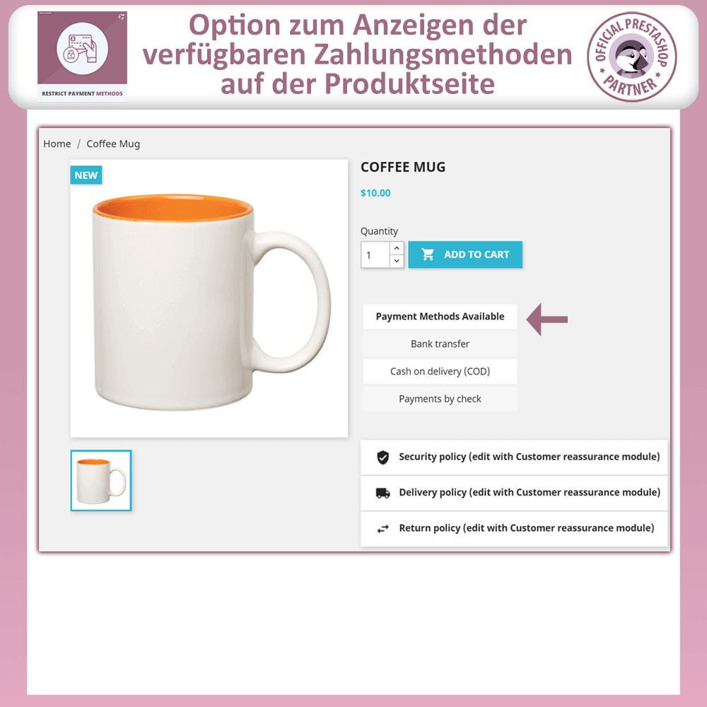 module - Andere Zahlungsmethoden - Beschränken Sie die Zahlungsmethoden - 2