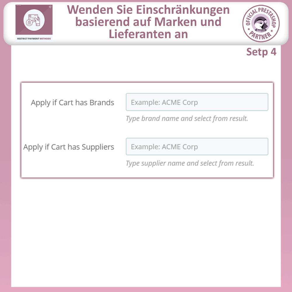 module - Andere Zahlungsmethoden - Beschränken Sie die Zahlungsmethoden - 8