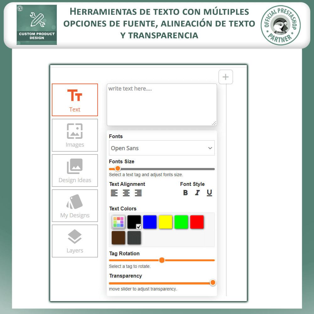 module - Combinaciones y Personalización de productos - Diseñador de productos personalizados - 4