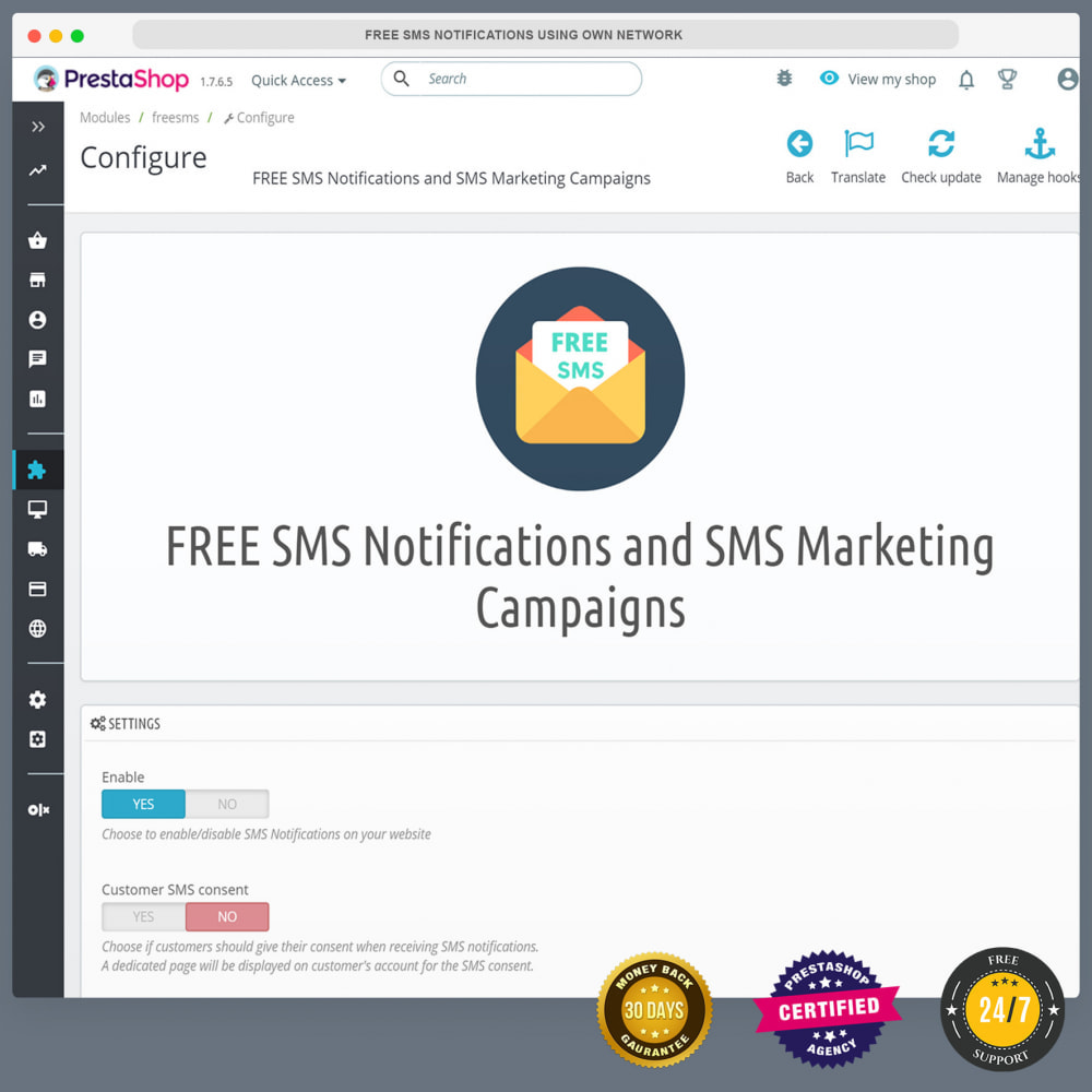 module - Newsletter & SMS - Notifiche SMS gratuite tramite la propria rete - 23
