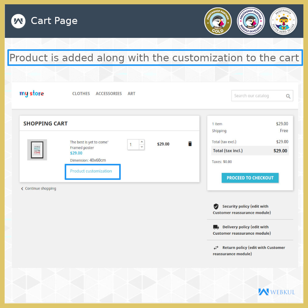 module - Registration & Ordering Process - Add Product with Customization Directly into Cart - 5