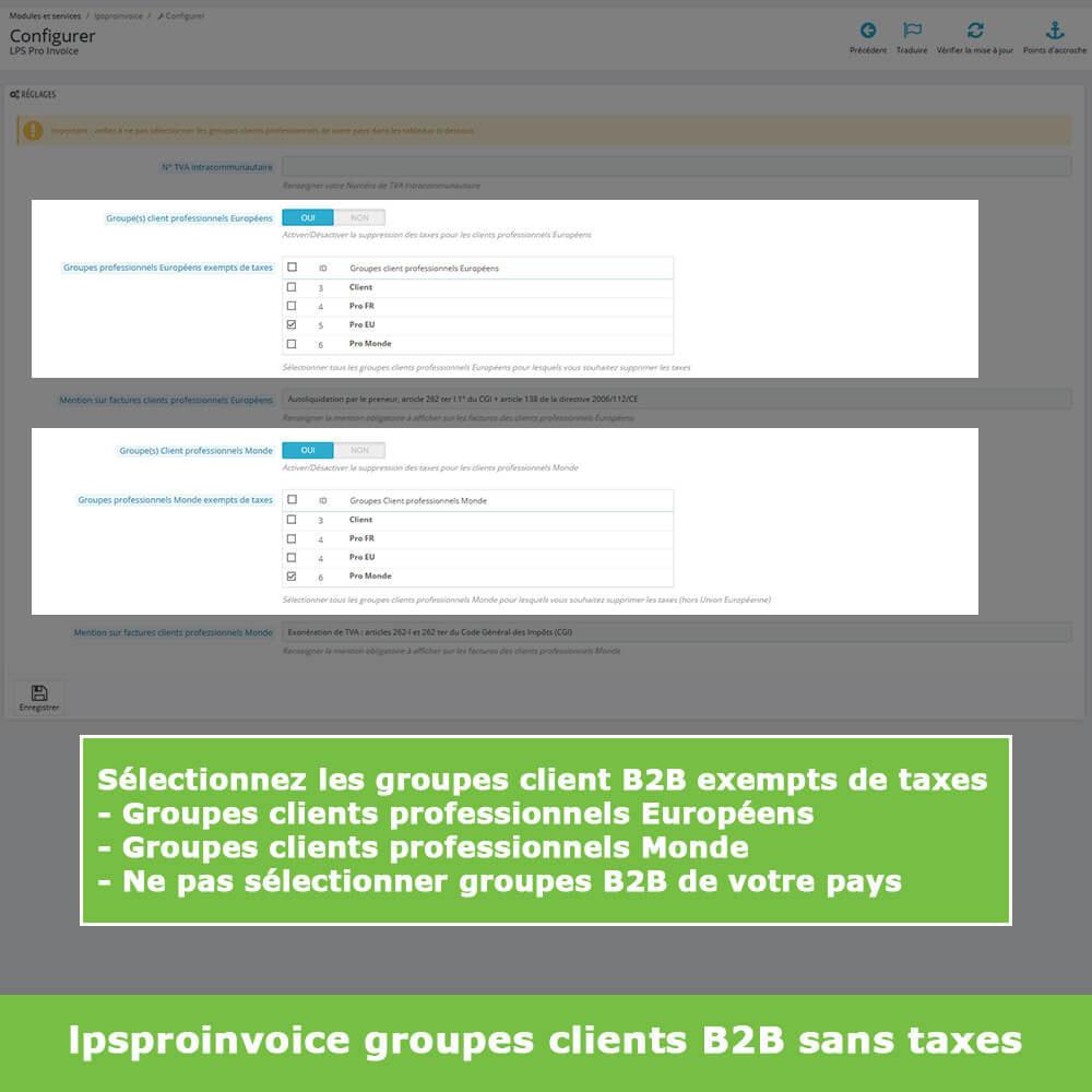 module - Comptabilité & Facturation - Facturation B2B - Suppression Taxes (sans TVA / HT) - 4