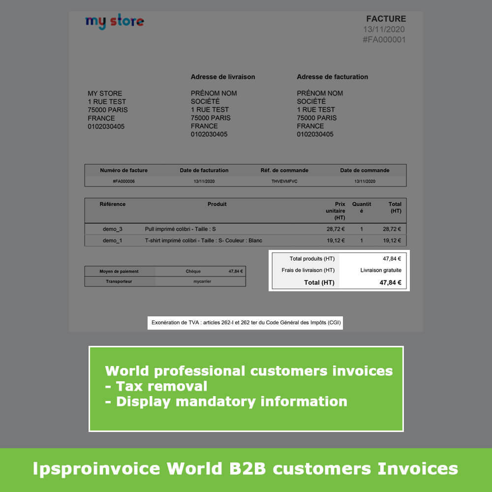 module - Contabilità & Fatturazione - B2B Invoicing - Remove Tax (without VAT / Tax excl) - 10