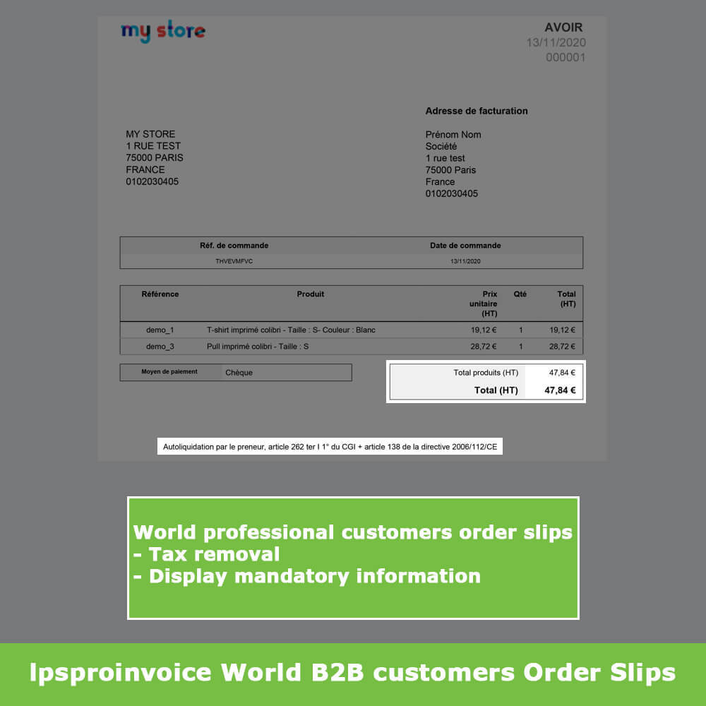 module - Buchhaltung & Rechnung - B2B Invoicing - Remove Tax (without VAT / Tax excl) - 12