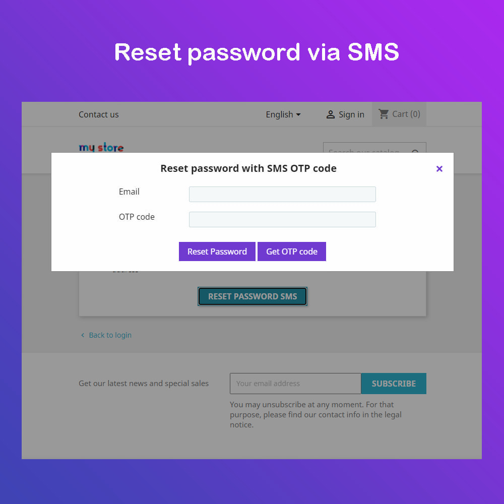 module - Newsletter & SMS - SMS Service PRO - Login/Reset password - Ordine via SMS - 4
