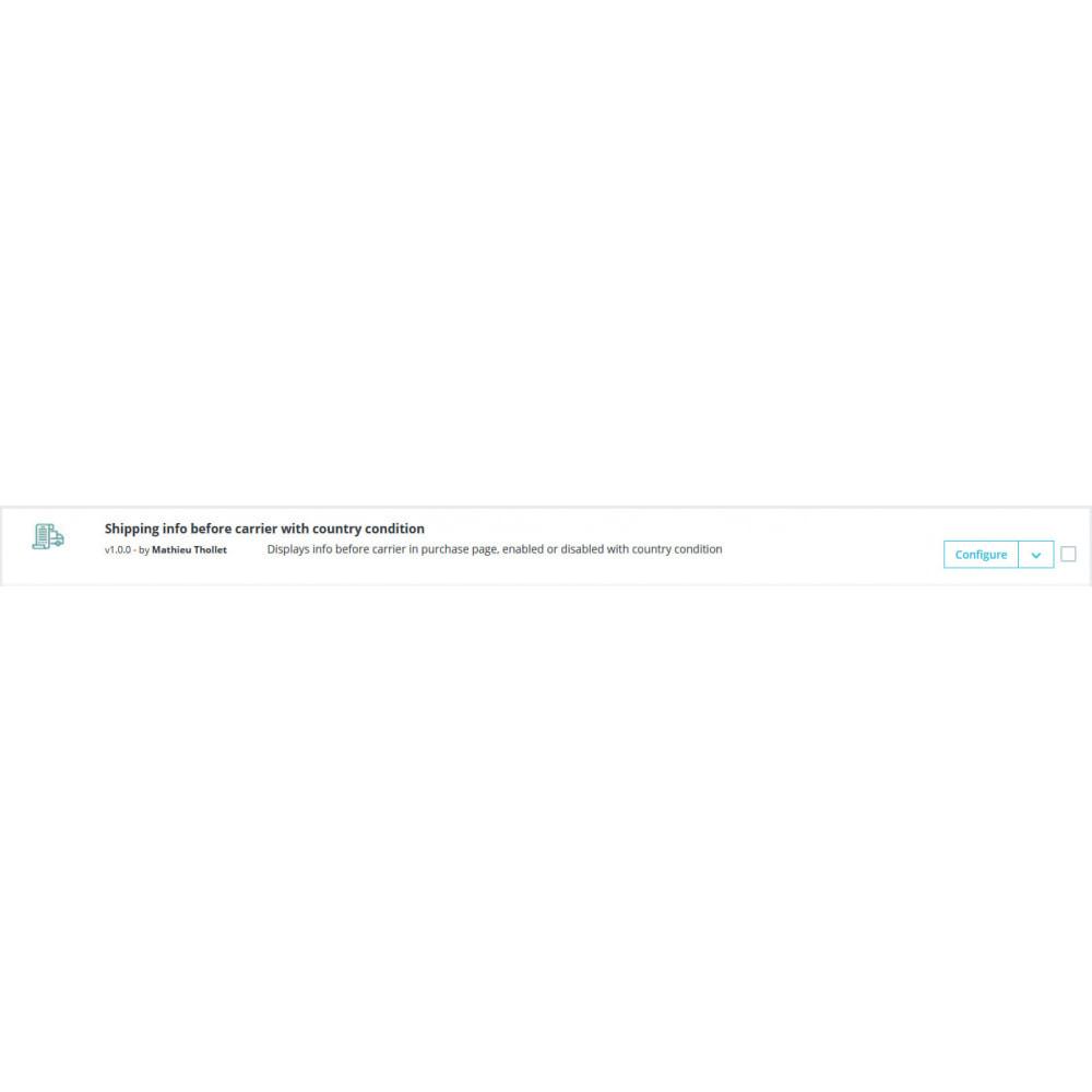 module - Versanddienstleister - Versandinformationen Spediteur mit Länderzustand - 1