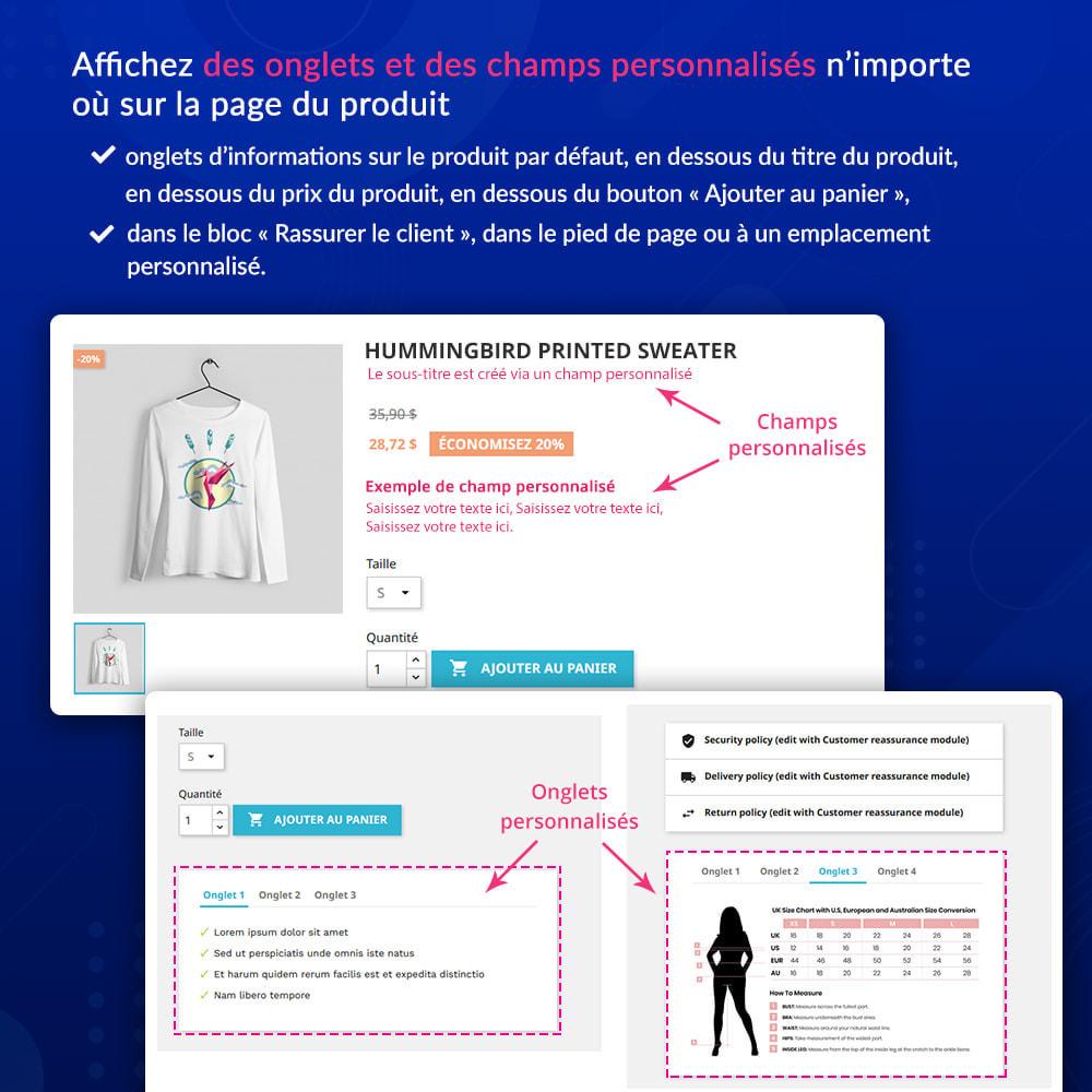 module - Information supplémentaire & Onglet produit - Onglets et champs personnalisés sur la page du produit - 2