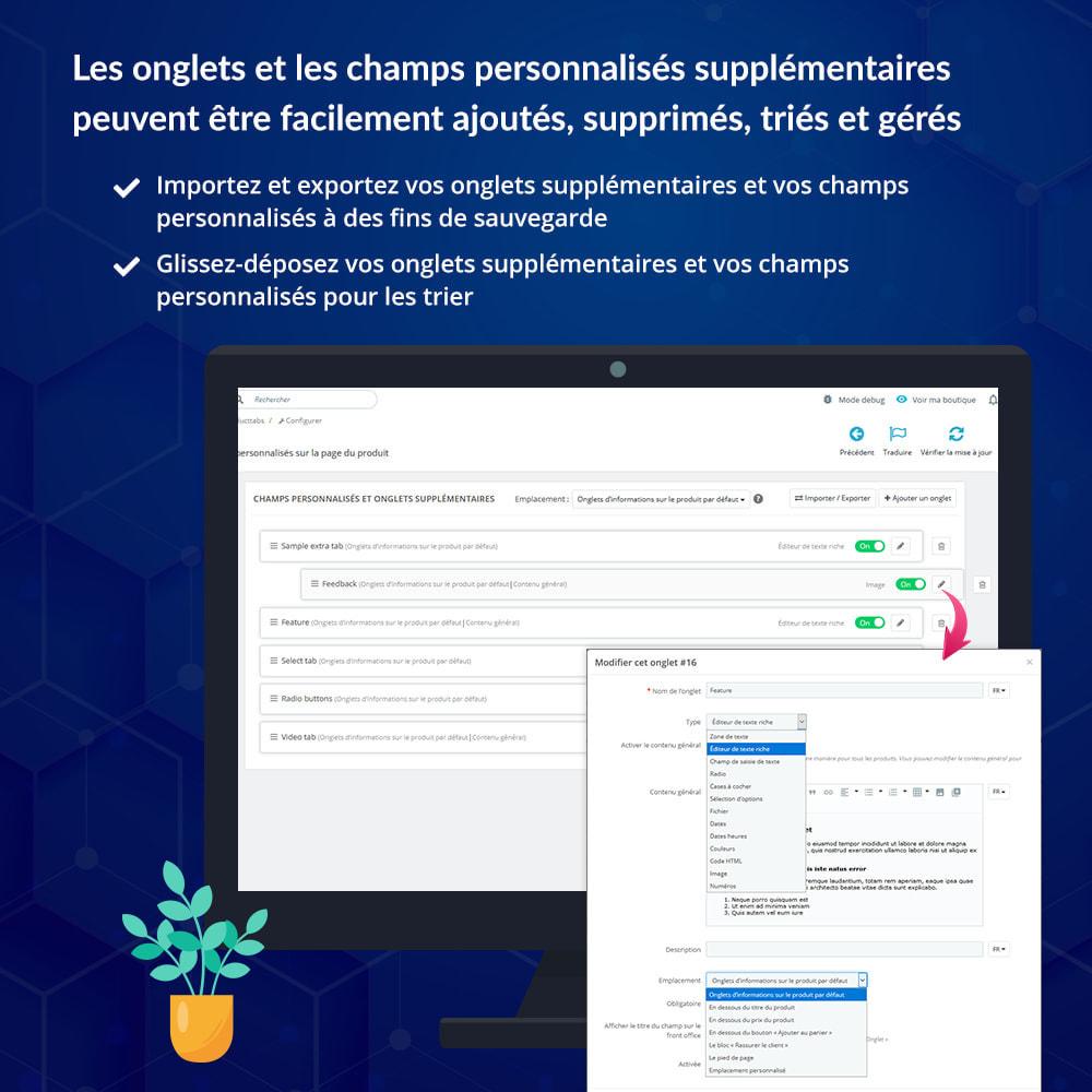 module - Information supplémentaire & Onglet produit - Onglets et champs personnalisés sur la page du produit - 6