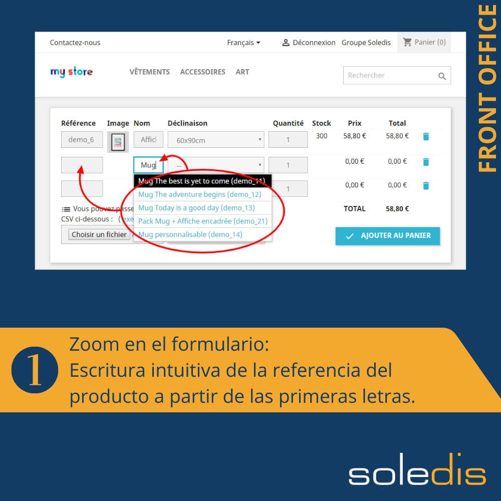 module - Inscripción y Proceso del pedido - B2B : Pedido rápido por formulario o archivo CSV - 2