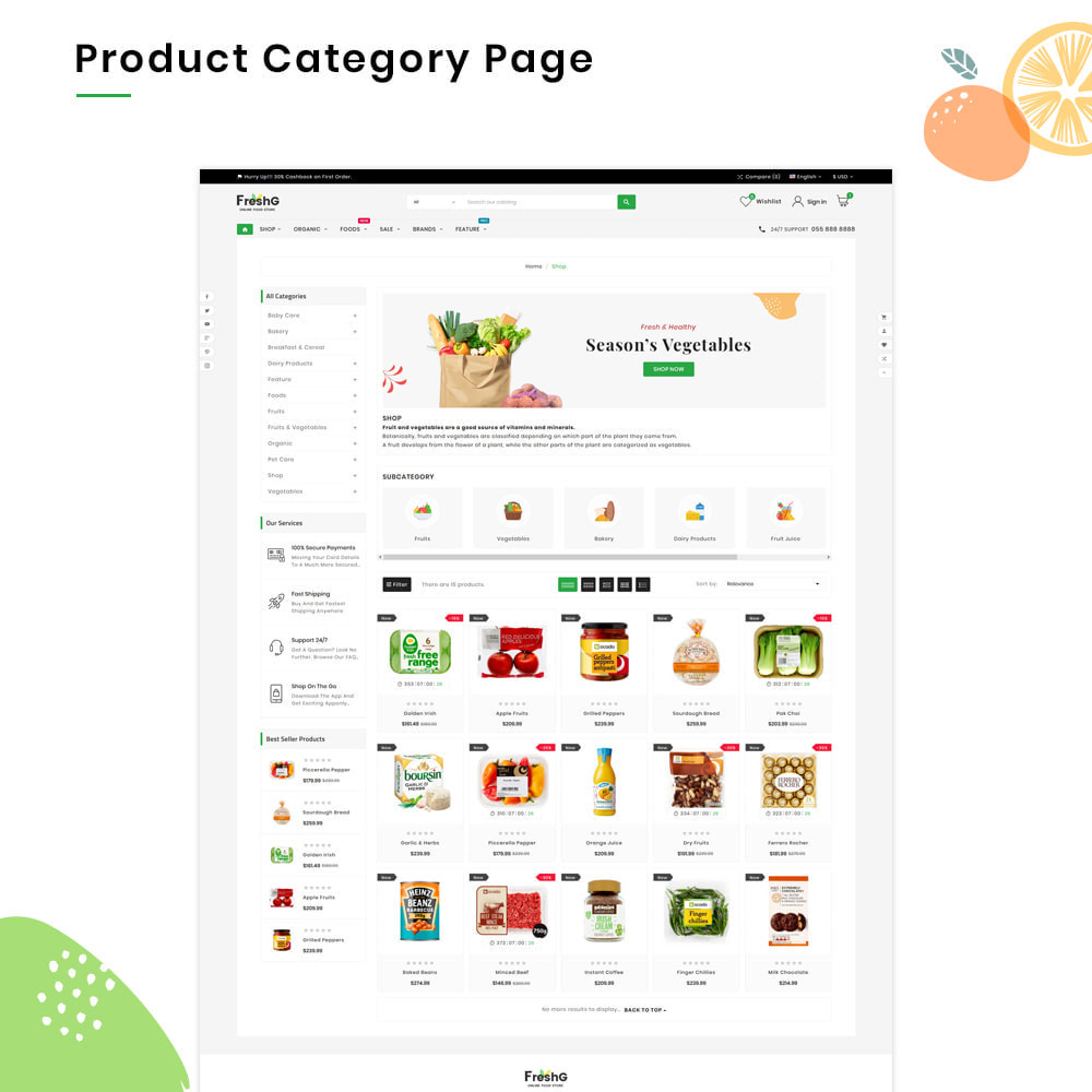 theme - Продовольствие и рестораны - FreshG Mega Grocery–Food Drink–Coffee Super Store v3 - 3