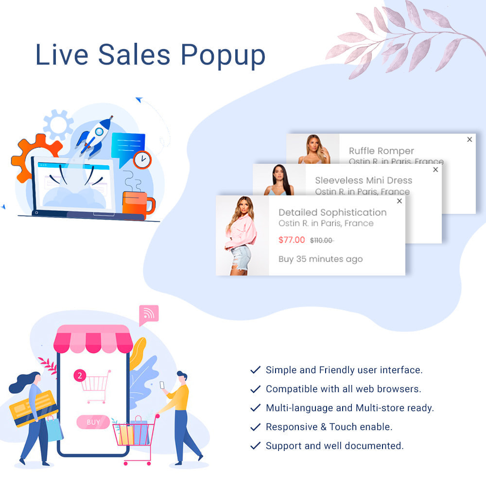 module - Additional Information & Product Tab - Live Sales Notification - Recent Sales Popups - 1