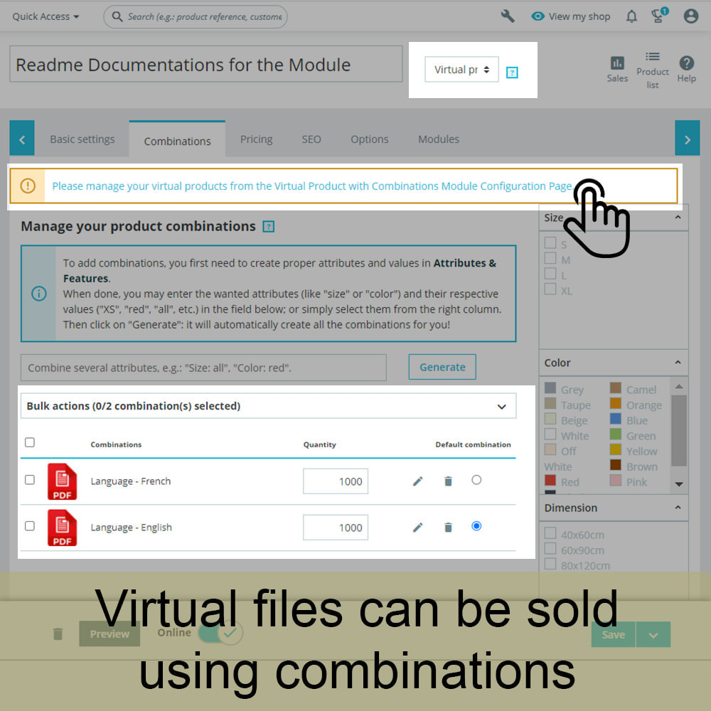 module - Digitale Produkt - Virtual Products with Combinations - 2