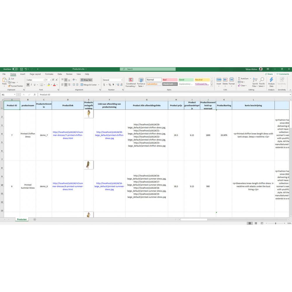 module - Importeren en Exporteren van data - Export van Producten Pro (Excel, CSV, PDF, Email, FTP) - 7